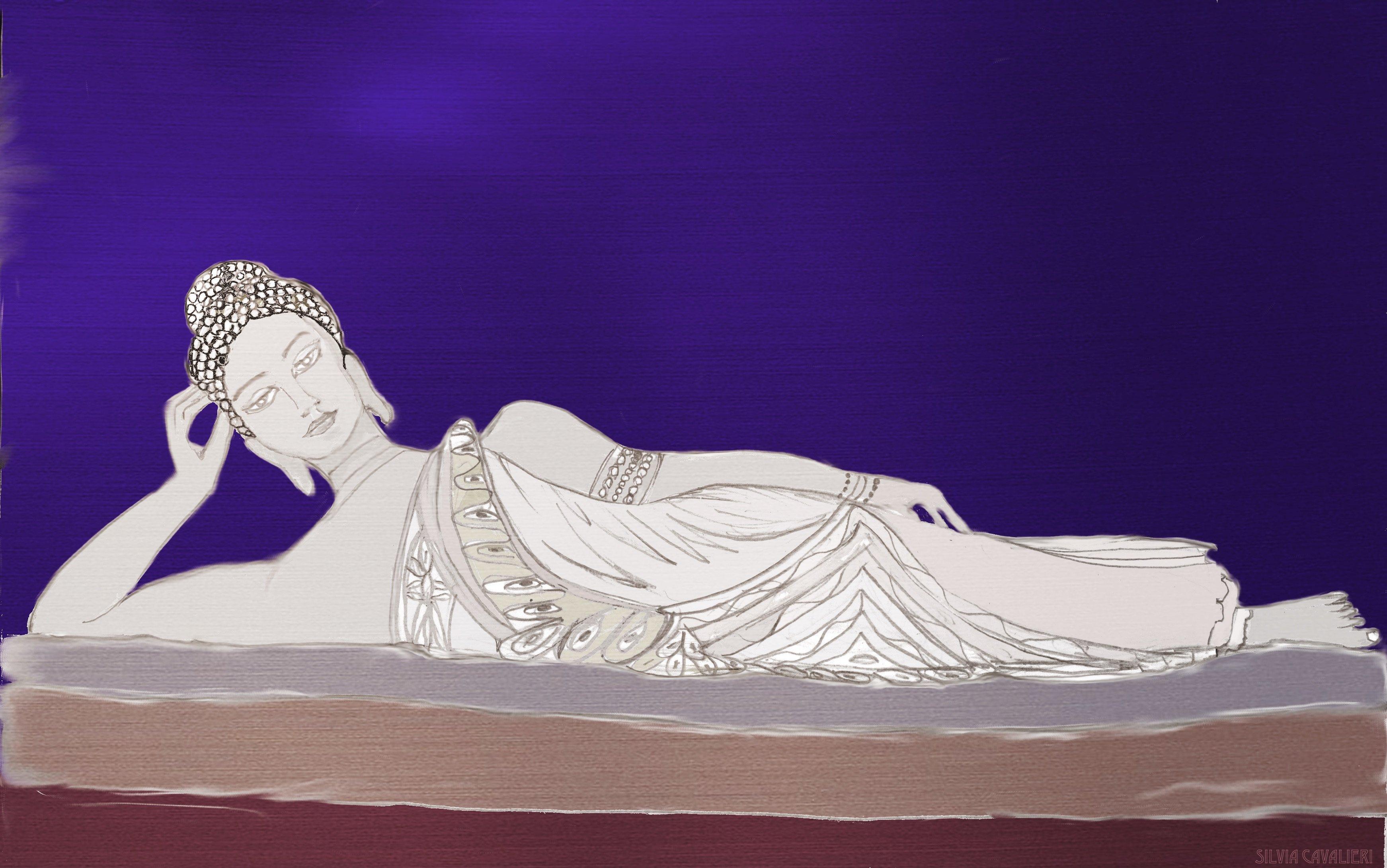 Budda sdraiato in pietra metallizzato
