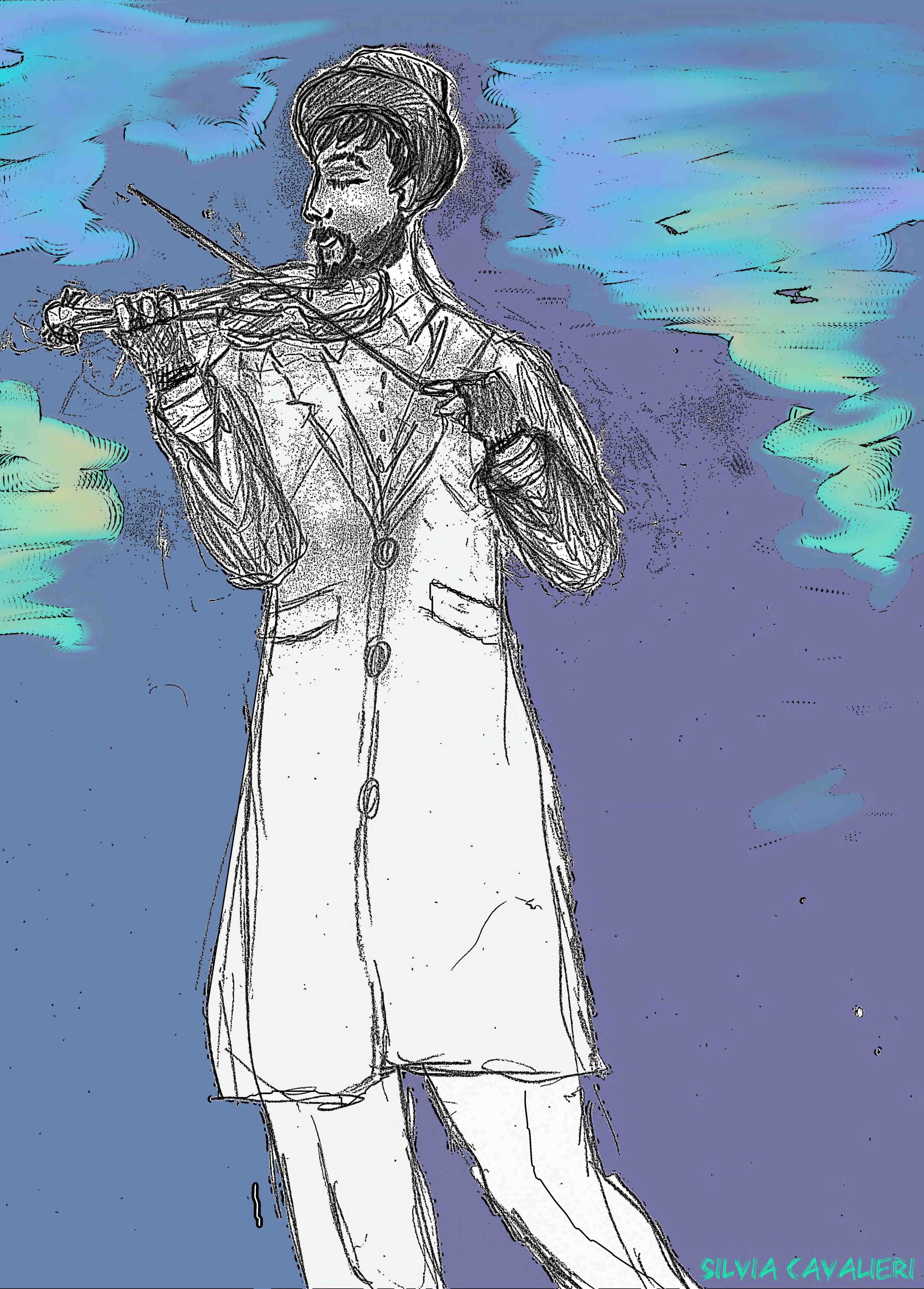 violinista mancino fumetto