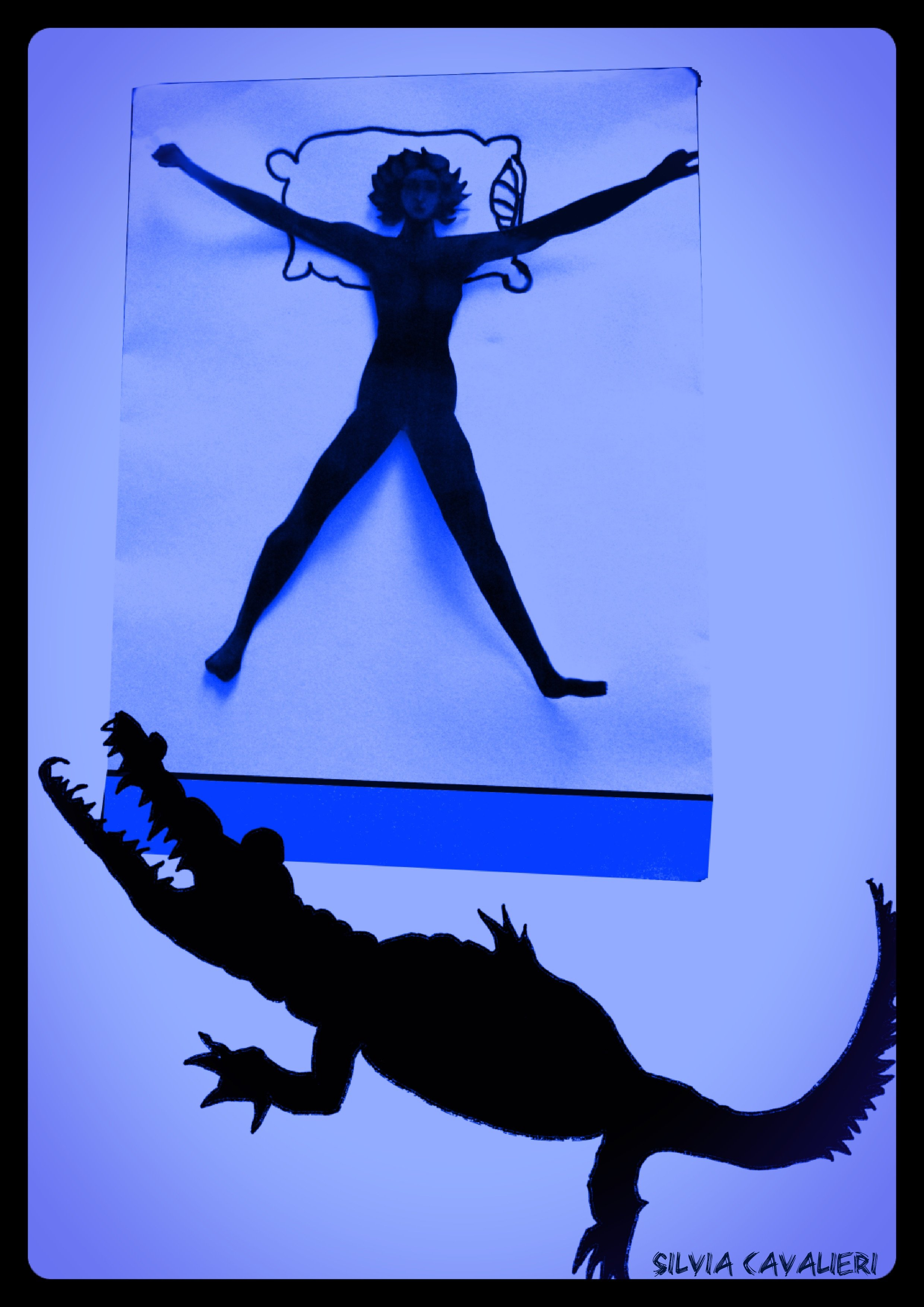 Stanza blu con alligatore