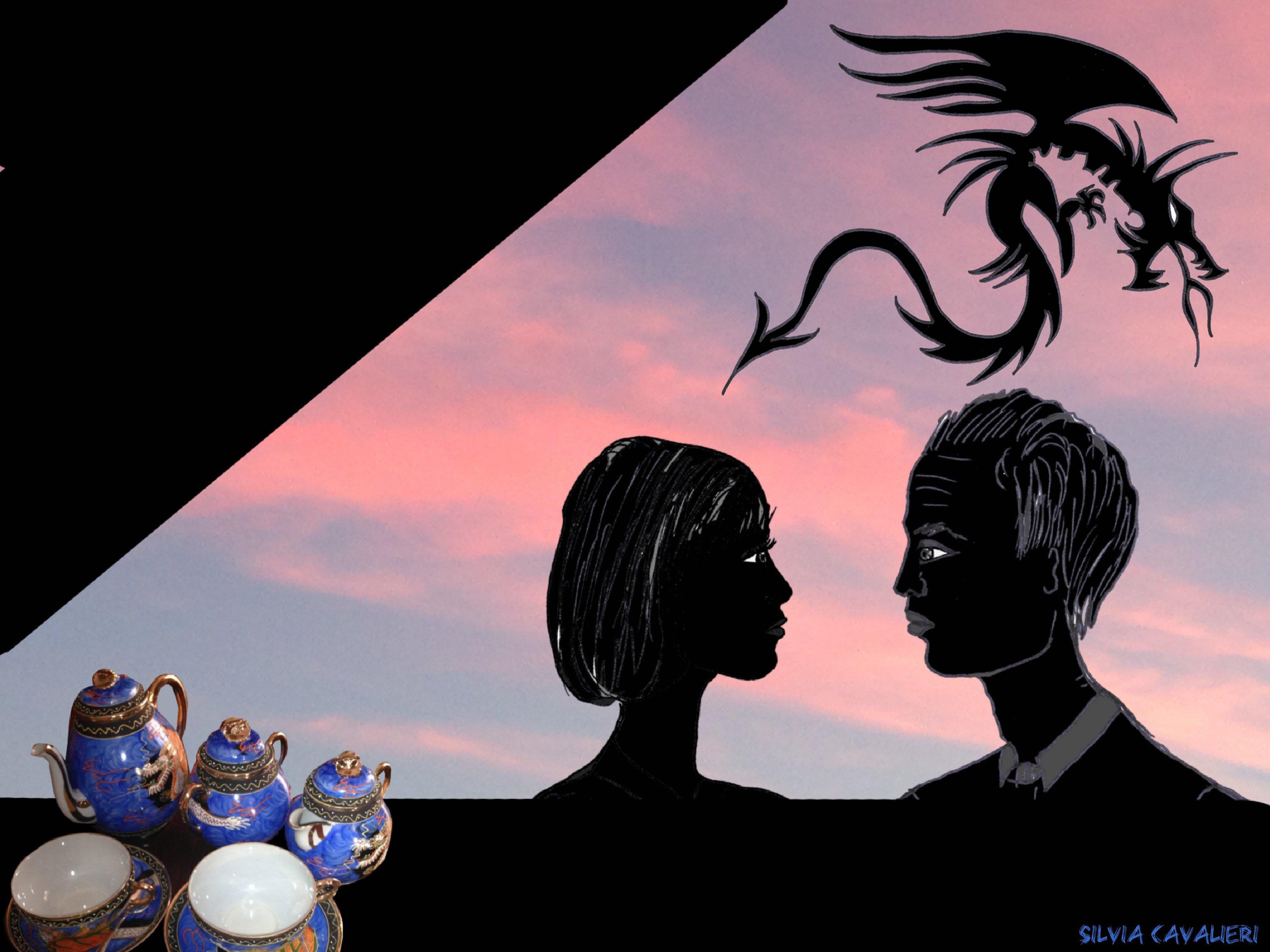 Te In terrazza con l'inglese e il drago